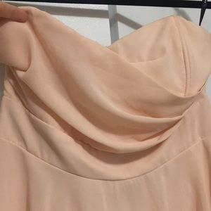 Blush coloured strapless dress